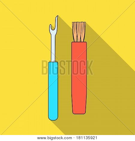 Tools for sewing.Sewing or tailoring tools kit single icon in flat style vector symbol stock web illustration.