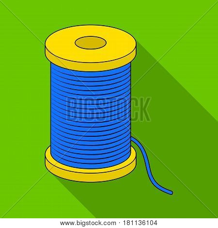 A reel of blue thread.Sewing or tailoring tools kit single icon in flat style vector symbol stock web illustration.