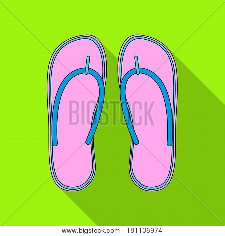 Beach flip flops.Summer rest single icon in flat style vector symbol stock web illustration.