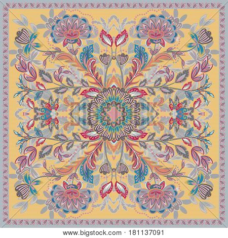 Lovely tablecloth ethnic indian flowers. Beautiful vector ornament. Card, bandana print, kerchief design, napkin. Pastel brown blue pink ornate pattern on beige. Ready for print.