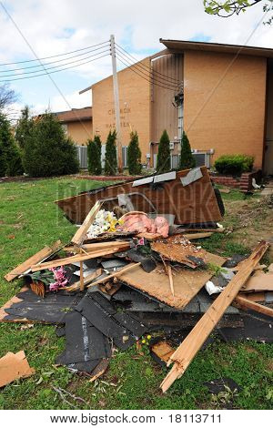 SAINT LOUIS, MISSOURI - APRIL 22: Areas of St. Louis undergo clean up efforts after tornadoes hit the Saint Louis, Missouri area on Friday, April 22, 2011.
