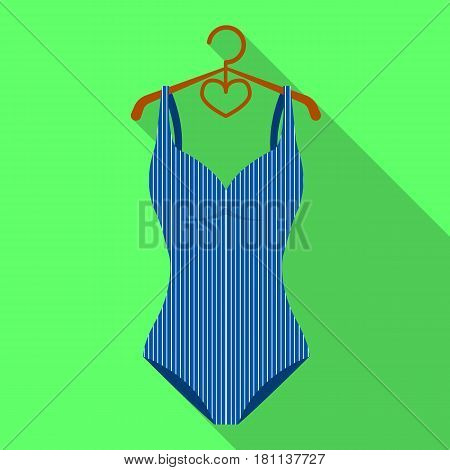Blue women stripe swimsuit. Clothes for swimming.Swimcuits single icon in flat style vector symbol stock web illustration.