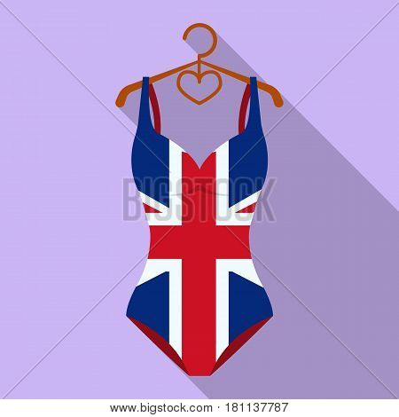 Women swimsuit closed with the flag of America. Swimsuit for the patriots.Swimcuits single icon in flat style vector symbol stock web illustration.