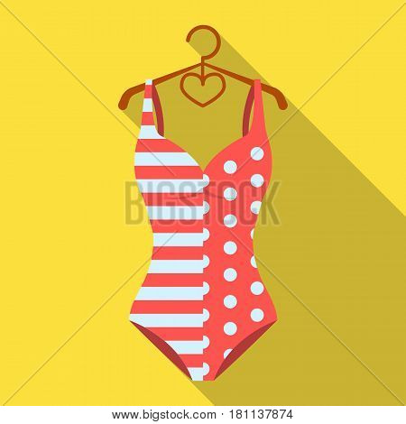 Pink swimsuit for the beach stripe and star.Swimming costume.Swimcuits single icon in flat style vector symbol stock web illustration.