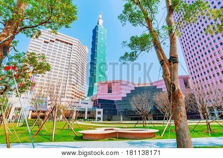 TAIPEI TAIWAN - MARCH 28: This is a view of the World Trade Center building and Taipei 101 in the Xinyi financial district on March 28 2017 in Taipei
