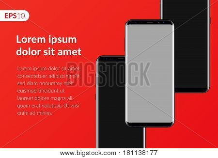 Phone, mobile smartphone design composition isolated on red background template. Realistic vector illustration mockup phones for banner or advertising.