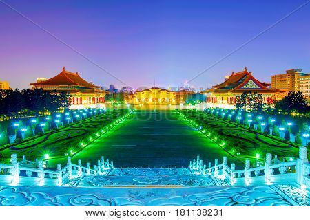 Chiang Kai Shek Memorial Hall and concert halls at night