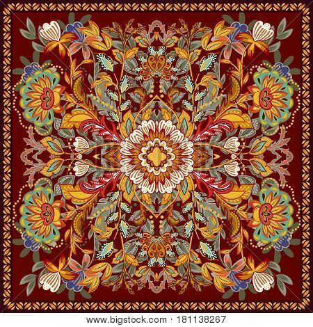 Lovely tablecloth ethnic indian flowers. Beautiful vector ornament. Card, bandana print, kerchief design, napkin. Bright orange green red ornate pattern on brown. Ready for print.