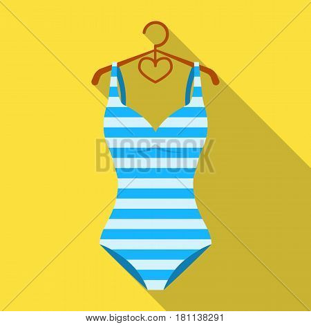 Bright striped swimsuit in the colors of the rainbow. Beach female form.Swimcuits single icon in flat style vector symbol stock web illustration.