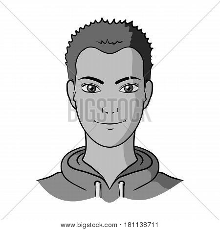 Avatar of a man with red hair.Avatar and face single icon in monochrome style vector symbol stock web illustration.