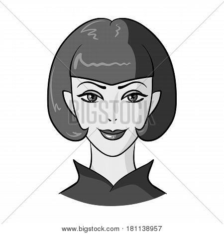 Avatar girl with short hair.Avatar and face single icon in monochrome style vector symbol stock web illustration.
