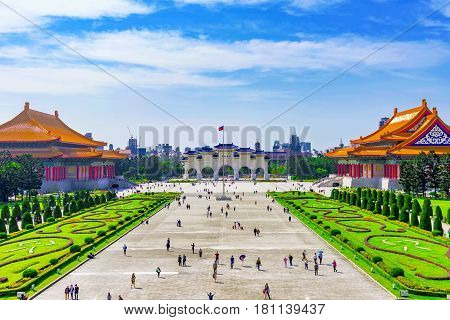 View of Taiwan National concert hall buildings and Chiang Kai Shek memorial hall square