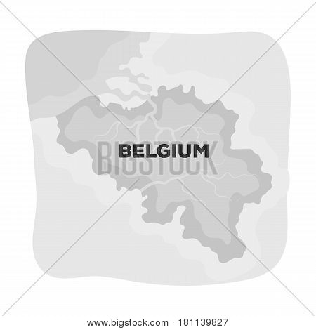 A fragment of the map of Belgium.The dark Belgian wolf. Belgium single icon in monochrome style vector symbol stock web illustration.