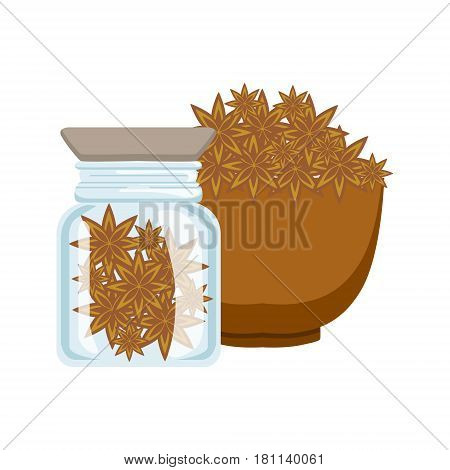 Stars of anise in a brown bowl and glass jar. Colorful cartoon illustration isolated on a white background