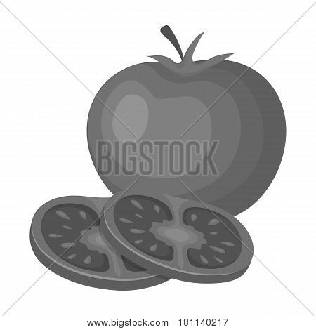 Tomato with a leaf.Burgers and ingredients single icon in monochrome style vector symbol stock web illustration.