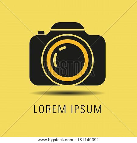 Logo for photographer. Camera logo isolated on yellow background. Vector stock.