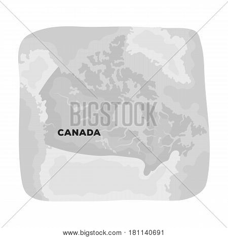 Map of Canada. Canada single icon in monochrome style vector symbol stock illustration .