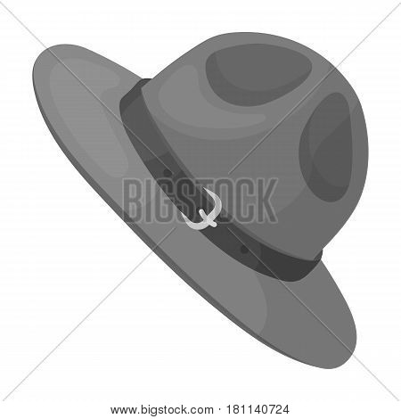 Green hat of a Canadian ranger. Canada single icon in monochrome style vector symbol stock illustration .