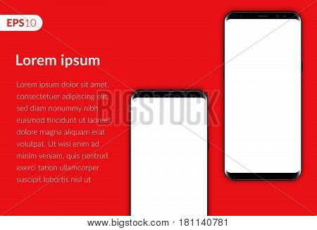Phone, mobile smartphone design composition isolated on red background template. Realistic vector illustration mockup two phones for banner or advertising.