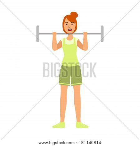 Young woman lifting barbell for biceps strengthening. Active sport lifestyle. Colorful cartoon character isolated on a white background