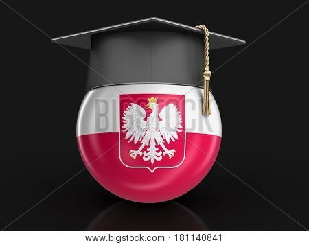 3d illustration. Graduation cap and Polish flag. Image with clipping path