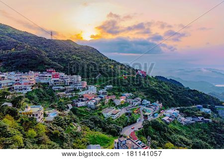 View of Jiufen town during sunset in Taiwan