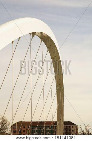 Bridge Structure In Blue Cloudy Sky