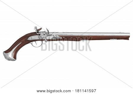 Pistol gun dueling old-fashioned ornate, side view. 3D rendering
