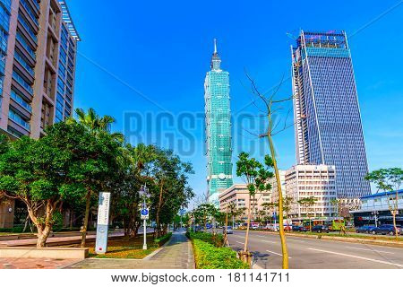 TAIPEI TAIWAN - MARCH 12: This is a view of Taipei 101 and Xinyi financia district architecture on a sunny day on March 12 2017 in Taipei