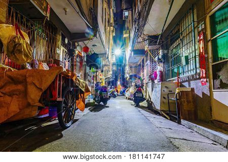 TAIPEI TAIWAN - MARCH 05: This is a view of an old residential side street in the Xiangshan area of Taipei at night on March 05 2017 in Taipei