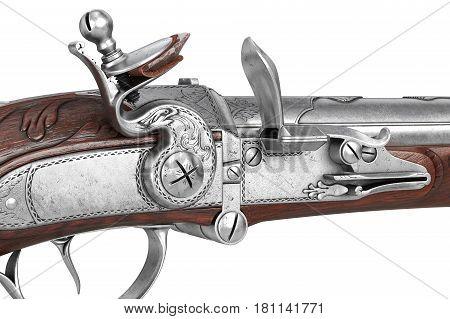 Pistol gun wooden antique ornate flintlock, close view. 3D rendering