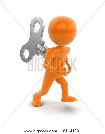 3d illustration. Man and winding key. Image with clipping path