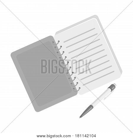 Paper notebook detective. Notepad to record readings, to solve the crime.Detective single icon in monochrome style vector symbol stock web illustration.