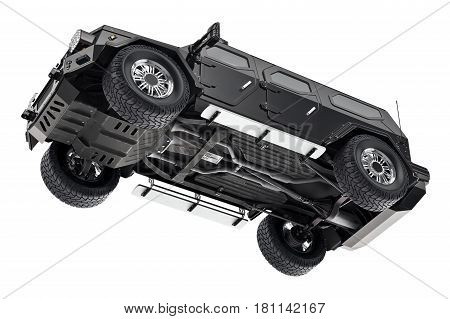 Suv car black suspension, bottom view. 3D rendering