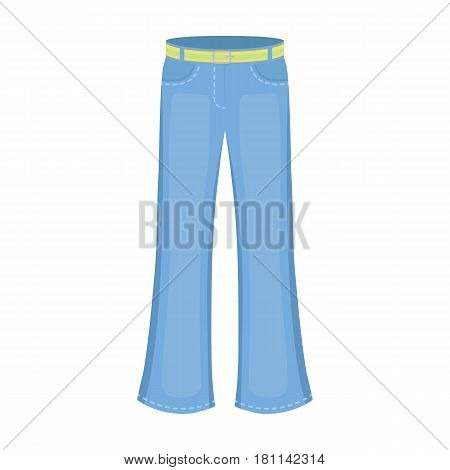 Blue jeans with a belt.Hippy single icon in cartoon style vector symbol stock illustration .
