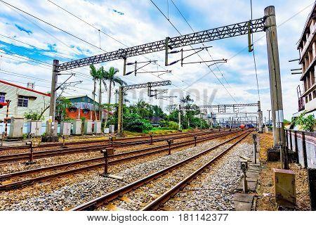 Railway tracks in the countryside of Taiwan