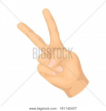 Peace symbol gesture.Hippy single icon in cartoon style vector symbol stock illustration .