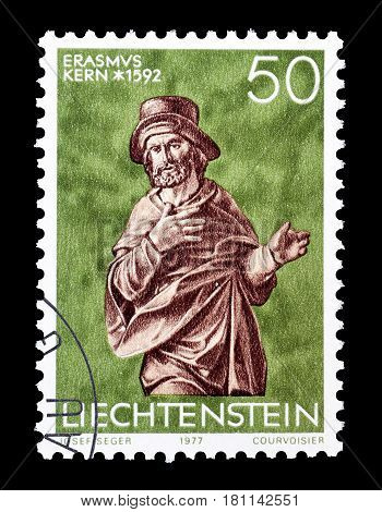 LIECHTENSTEIN - CIRCA 1977 : Cancelled postage stamp printed by Liechtenstein, that shows Sculpture.