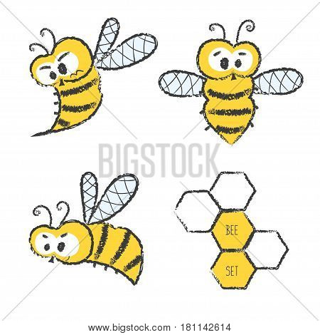 Cute bee vector set. Doodle illustration of bees and honeycombs.