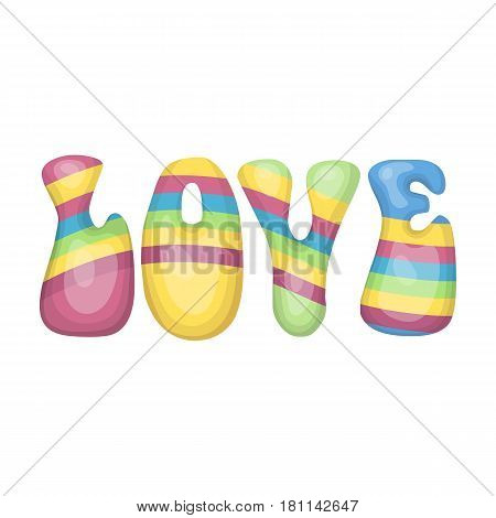 Rainbow inscription of the word love.Hippy single icon in cartoon style vector symbol stock illustration .