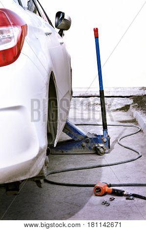 Replacing The Car Wheels.