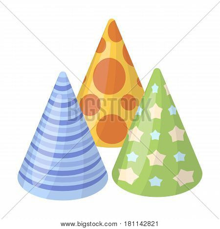 Caps in the form of cones for party.Party and parties single icon in cartoon style vector symbol stock web illustration.