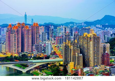 Cityscape of New Taipei Xindian district in th evening