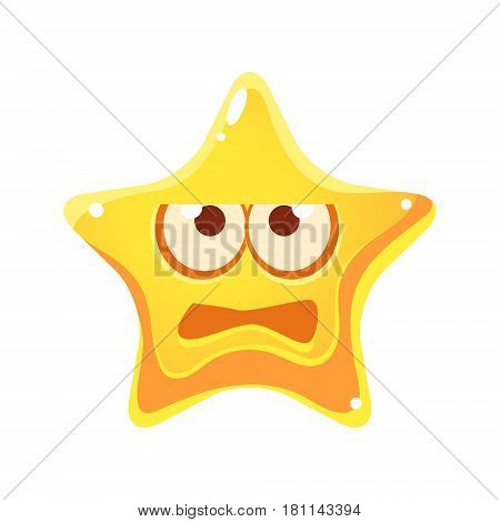 Frightened face of yellow star, cartoon character isolated on a white background