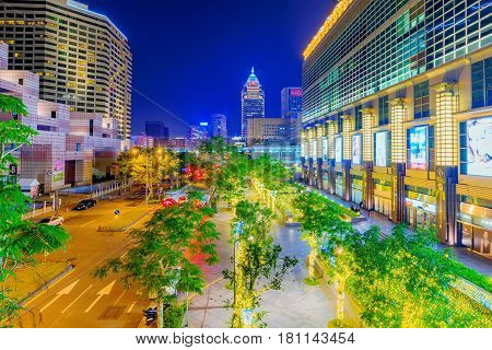 TAIPEI TAIWAN - FEBRUARY 16: This is a night view of downtown Taipei outside the Taipei 101 building and World Trade center two famous landmarks in the financial district on February 16 2017 in Taipei