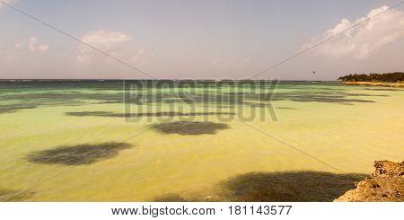 Panorama On A Paradisiac Beach With White Caribbean Sand