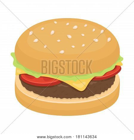Burger with cutlet and slabom. Bar food with beer. Pub single icon in cartoon style vector symbol stock web illustration.
