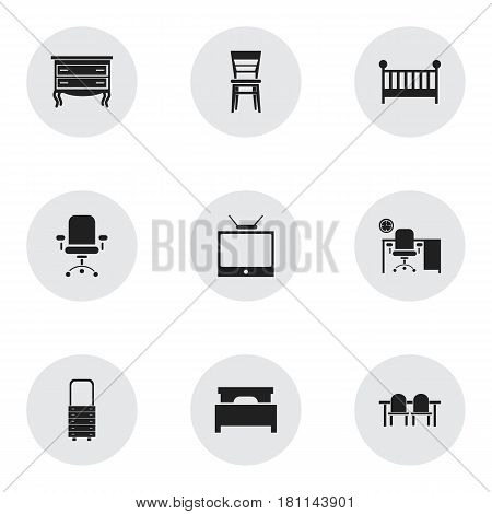 Set Of 9 Editable Interior Icons. Includes Symbols Such As Commode, Television, Ergonomic Seat And More. Can Be Used For Web, Mobile, UI And Infographic Design.