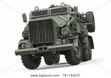Truck military green armored army transport. 3D rendering