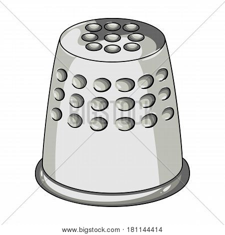 A thimble to protect your fingers when sewing.Sewing or tailoring tools kit single icon in cartoon style vector symbol stock web illustration.